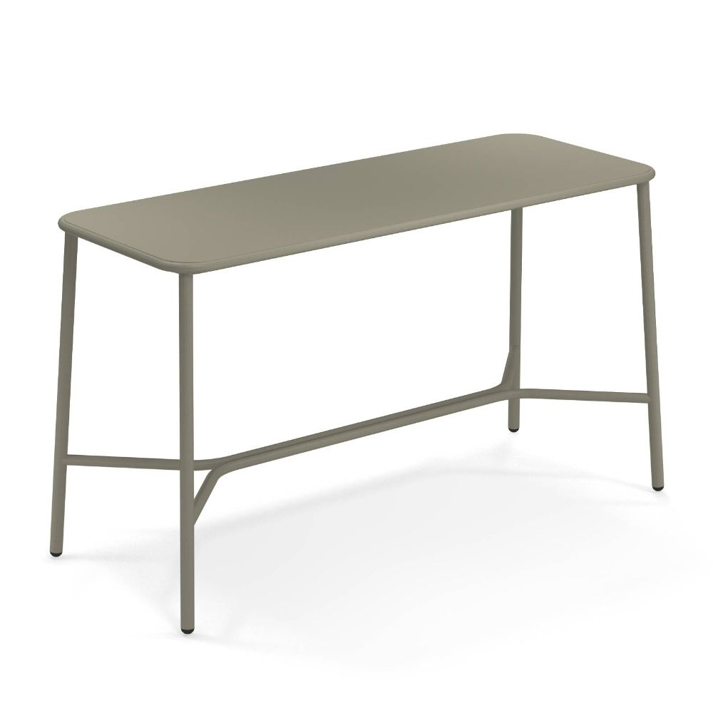 High table for outdoor, in grey-green colour, 180 x 70 cm