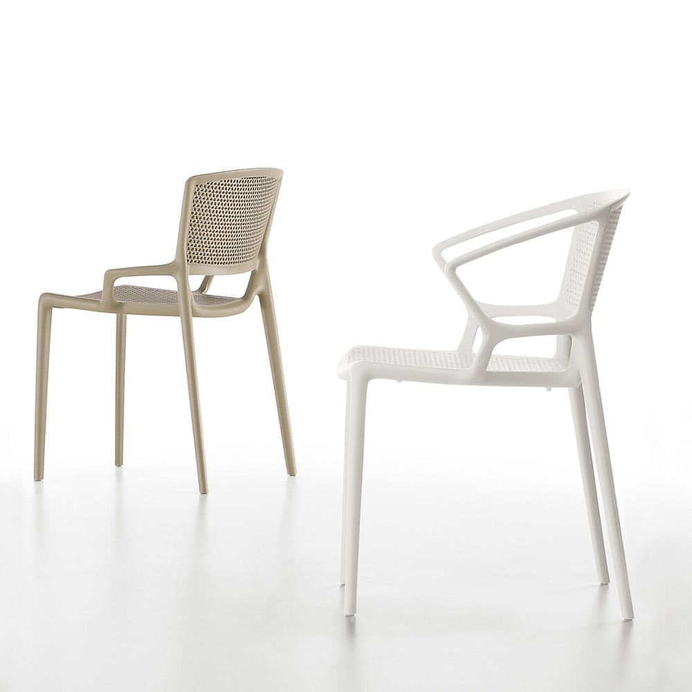 Stackable polypropylene chair in sand and white colour, also with armrest