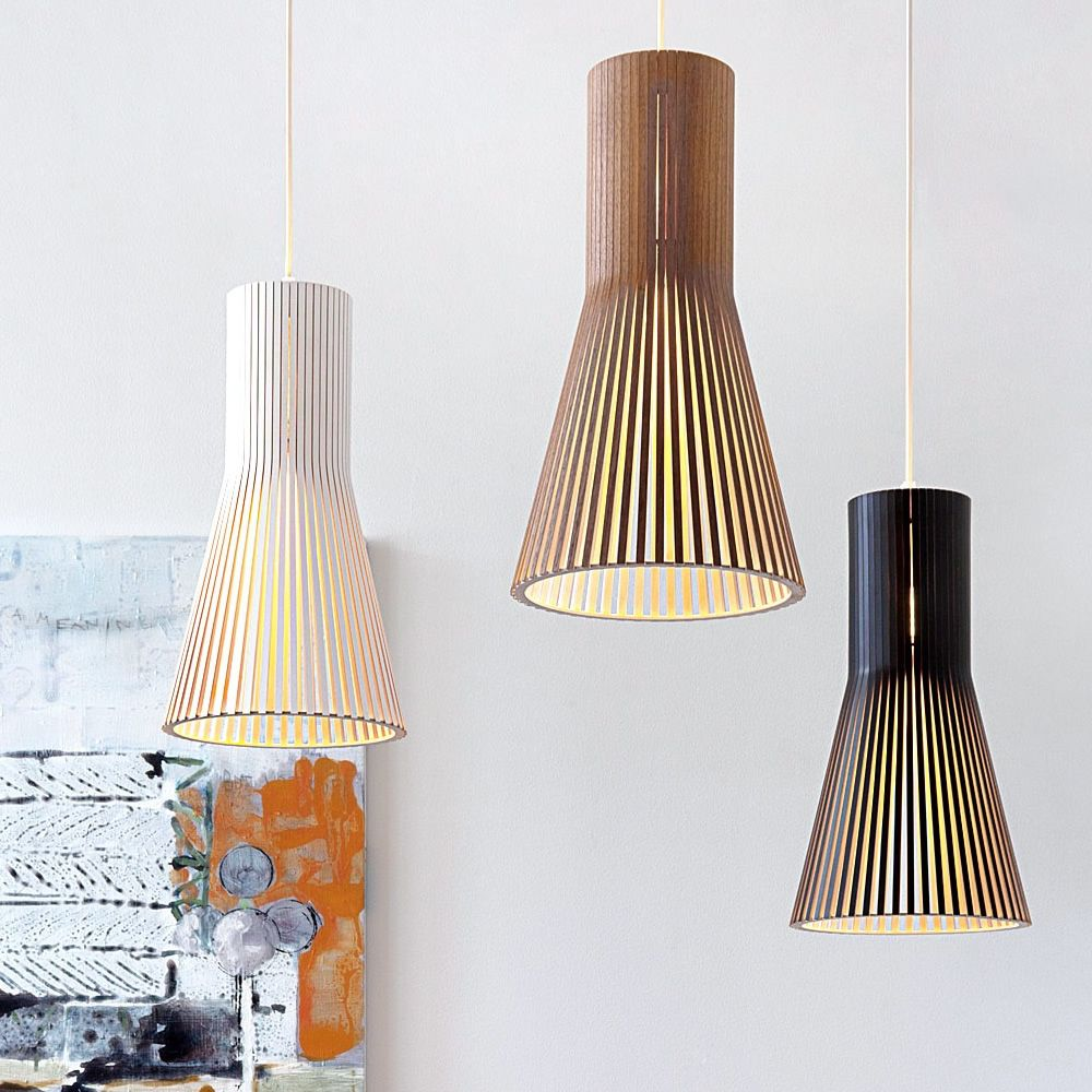 Suspension lamps in wood, S model