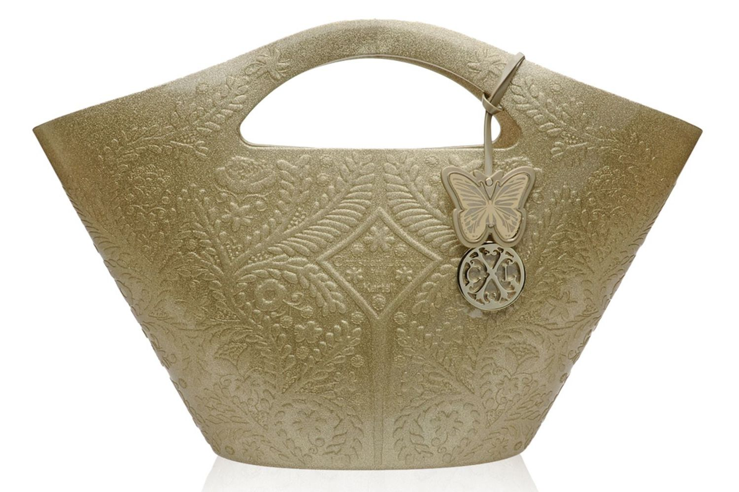Designer bag with butterfly-shaped charm, in gold colour