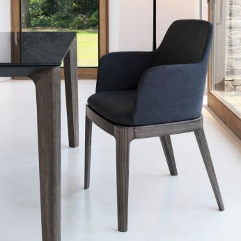 Margot P - Elm wood chair, with anthracite gray microfiber cushion