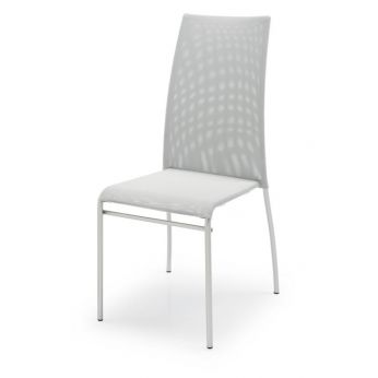 CB1365 Wave - Stackable chair made of metal, satin steel finish, with seat and backrest in grey net