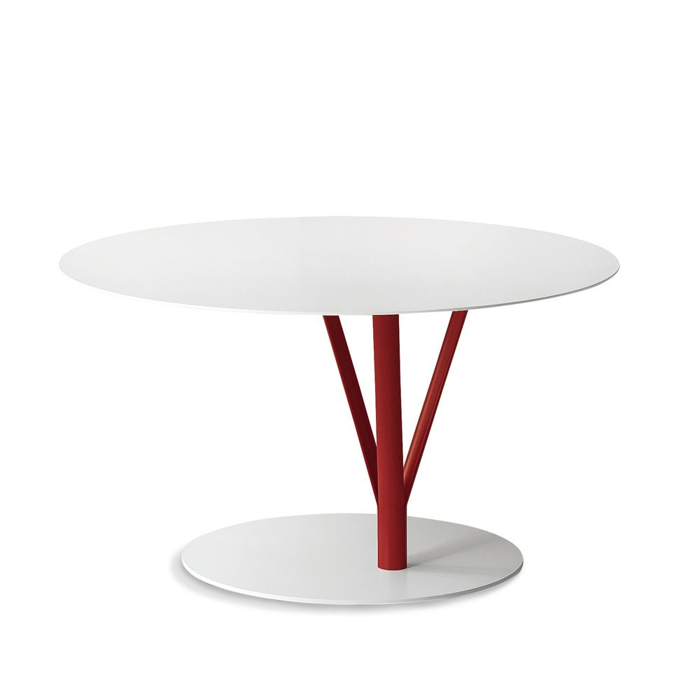 Bonaldo metal coffee table, round-shaped, in white and red colour, diameter 70 cm