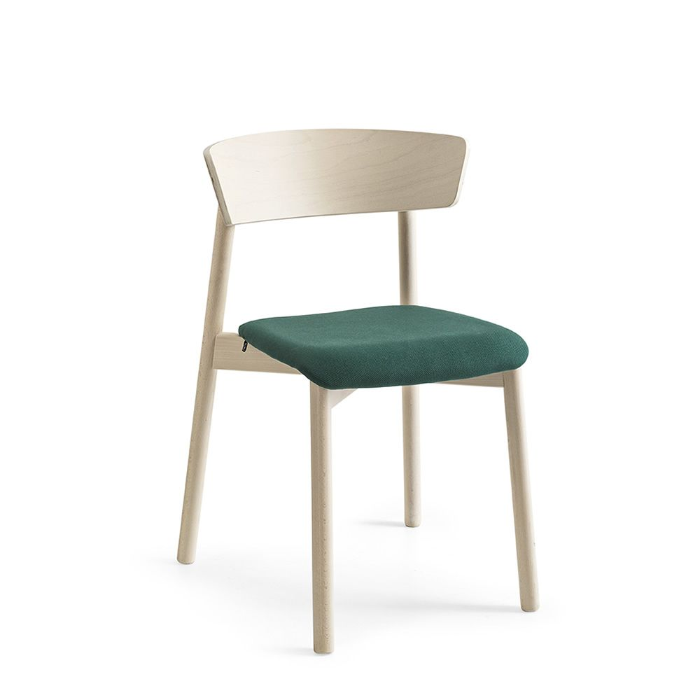 Connubia chair with wooden frame and upholstered seat and backrest, forest green covering