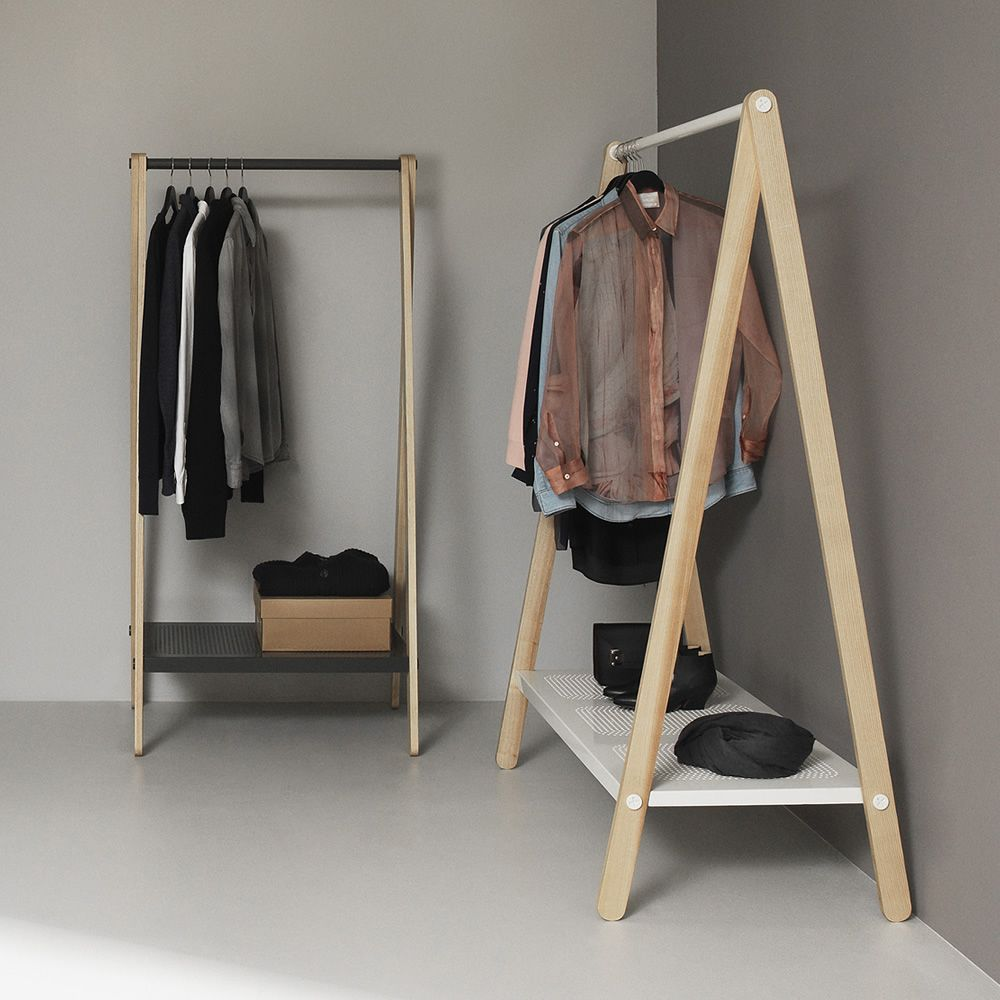 Clothes rack made of ash wood and varnished steel in white or grey colours, two different sizes