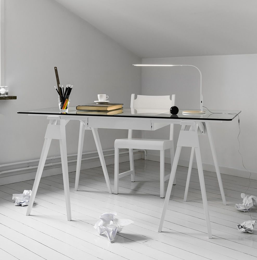 Writing desk made of white lacquered wood, glass top, with drawer