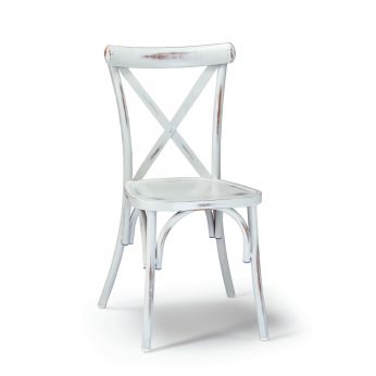 TT972 - Vienna style chair made of varnished aluminium, in old-looking white colour, stackable