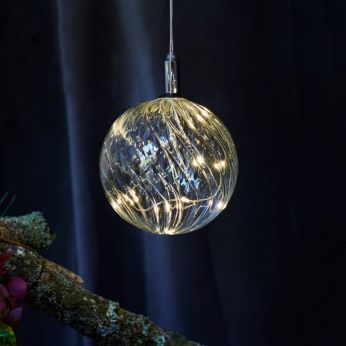 Wave - Glass decoration with small lights