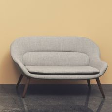 Philippa - Two-seaters sofa with wooden legs, covering in fabric
