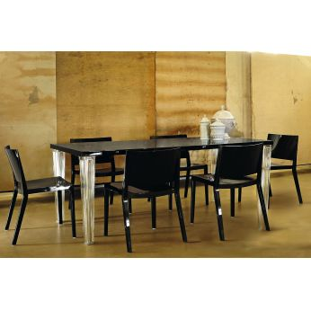 TopTop Table - Rectangular table with lacquered glossy black top