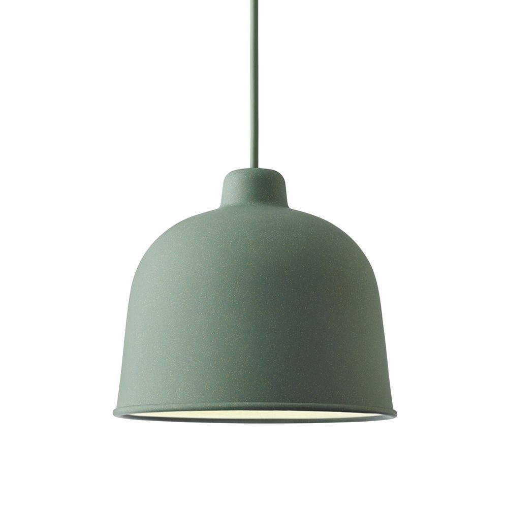 Pendant lamps made of bamboo, dusty green colour