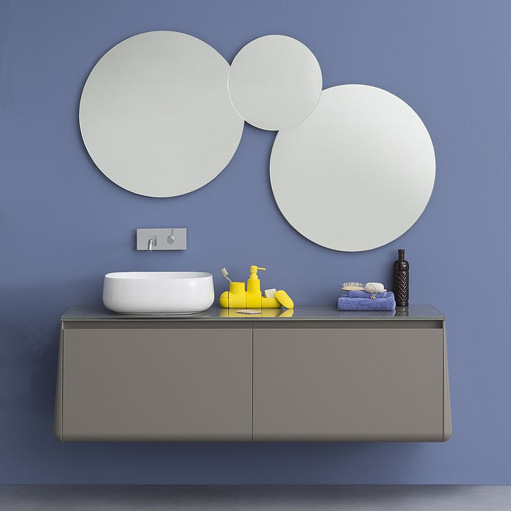 Rounded mirror of 70 cm diameter, matching with Acqua & Sapone bath cabinet