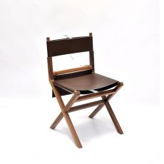 Lina - Valsecchi chair made of wood with leather seat, with storage saddlebag