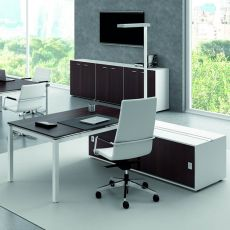 Office X4 03 - Office desk with double sided operational box, in metal and laminate, available in different dimensions