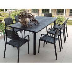 Libeccio & Bora set - Garden set of 6 chairs and table 160x100cm, extendable, in metal and resin