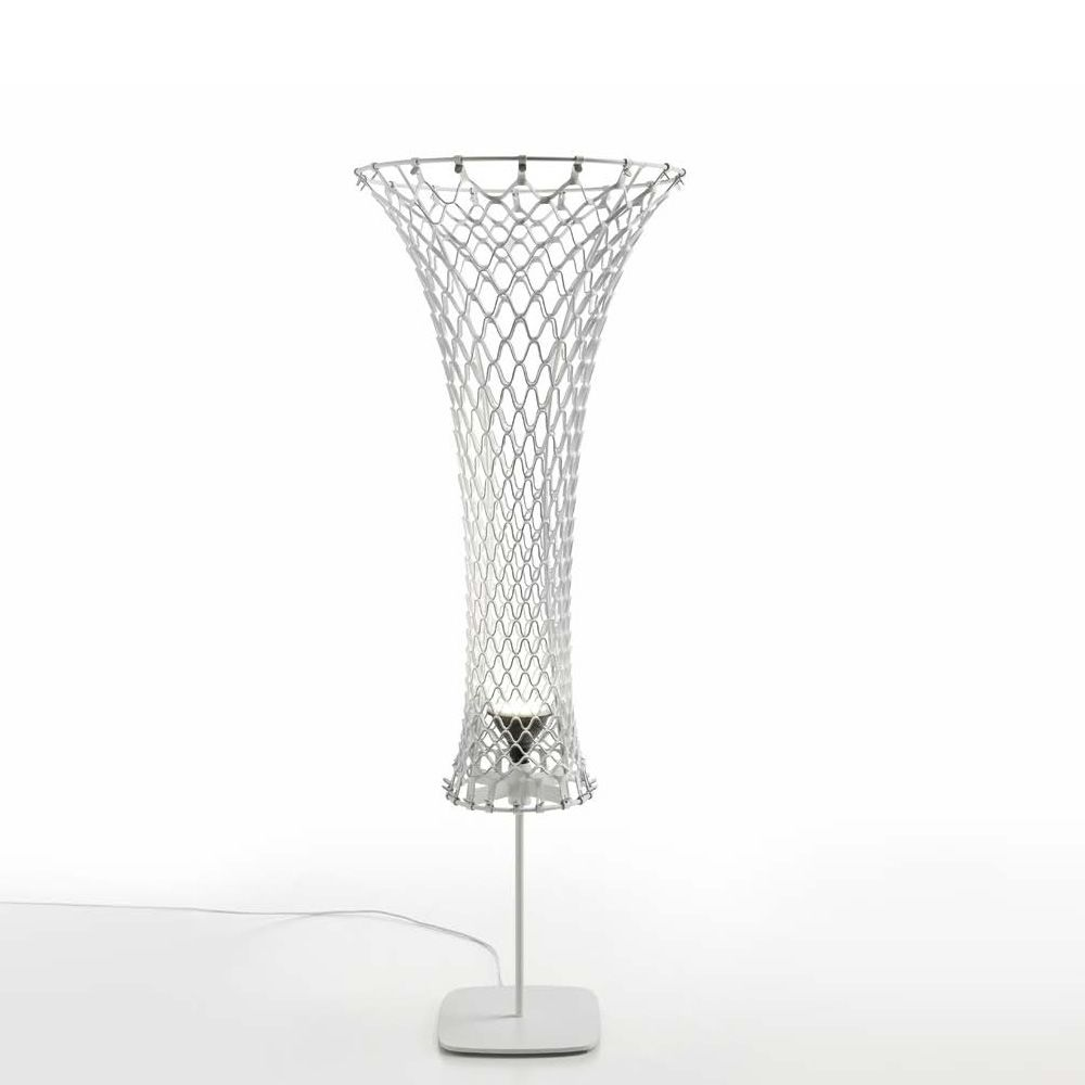 Design floor lamp made of metal and TK hide, white colour