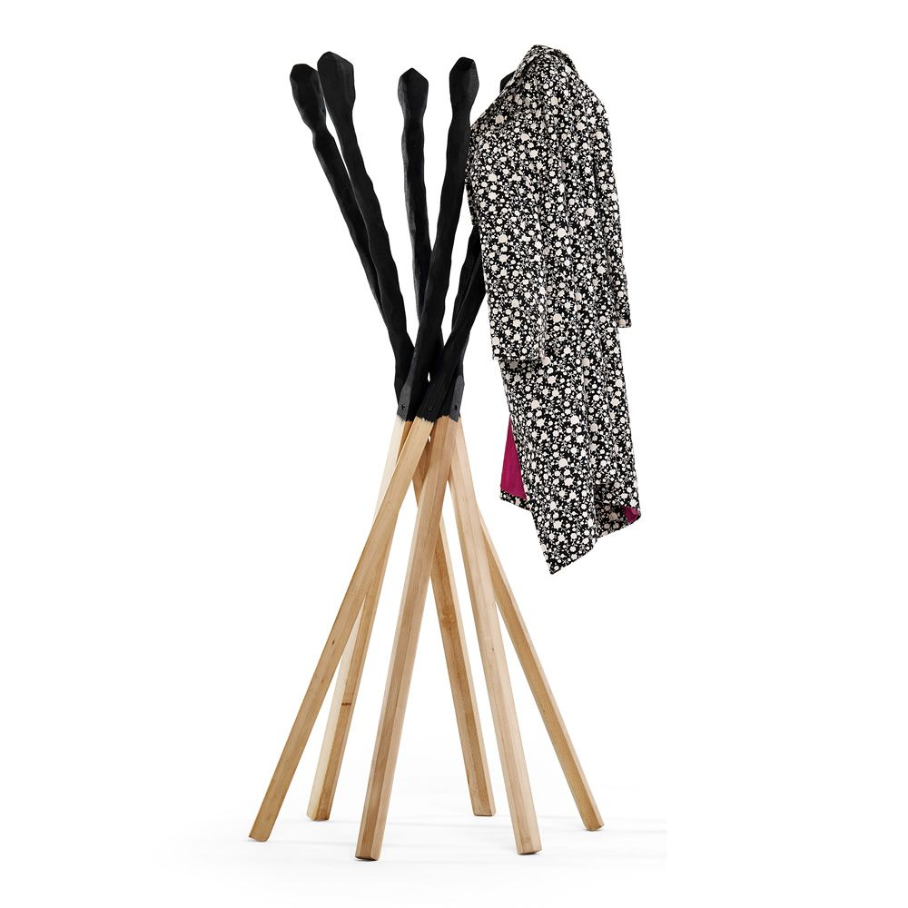 Coat rack made of solid beech stained black finish and natural oil