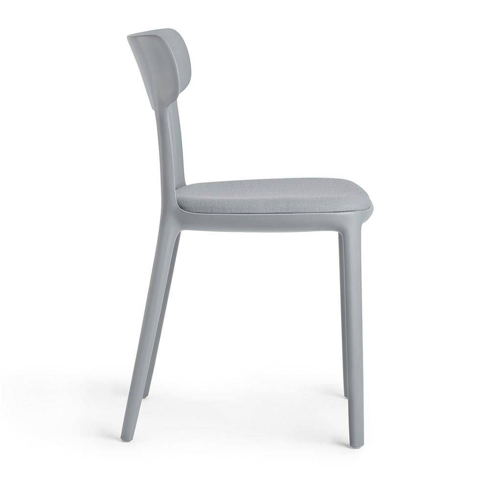 Chair made of titanium grey polypropylene, padded seat covered with fabric