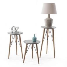 Cairo Side - Design side table, wooden frame and MDF effect concrete top, available in different heights