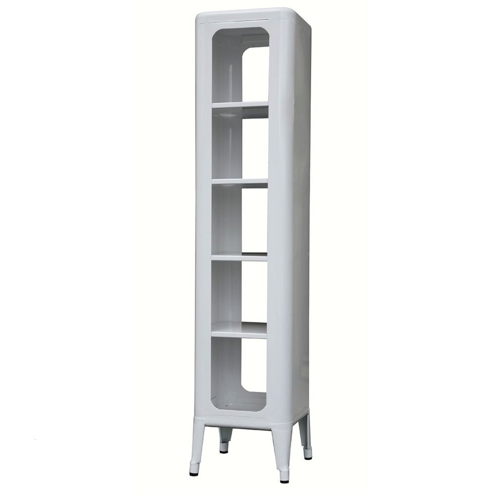 Steel bookcase in white varnished, glossy finish