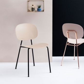 Tondina Pop - Chair made of black varnished metal, seat and backrest in facepowder pink polypropylene