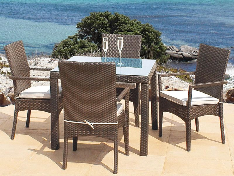 Garden armchairs in brown colour, matching with Sesia T table