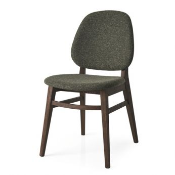 CS1491 Colette - Ash chair, smoke finish, with seat covered with forest green fabric