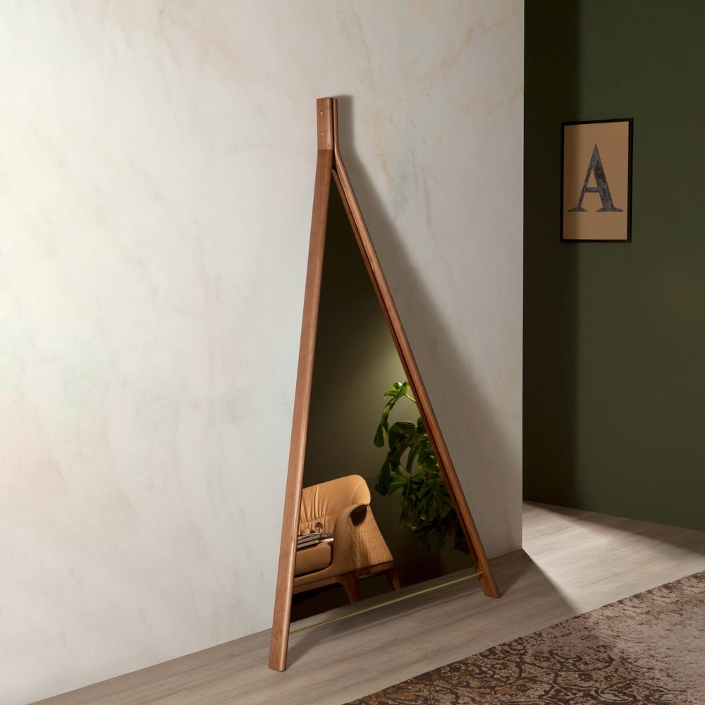 Triangle-shaped mirror in wood, Canaletto walnut finish, with bronzed mirror