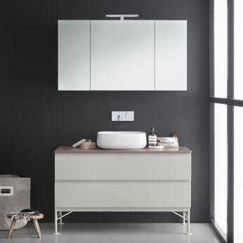 Memento D - Sink cabinet in dove grey laquered with brown marble top, matching with Mivedo mirror