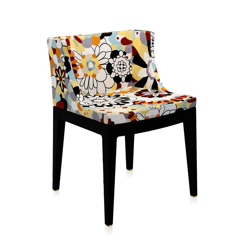 Kartell design small armchair, structure in black polycarbonate, fabric Vevey burnt tones by Missoni