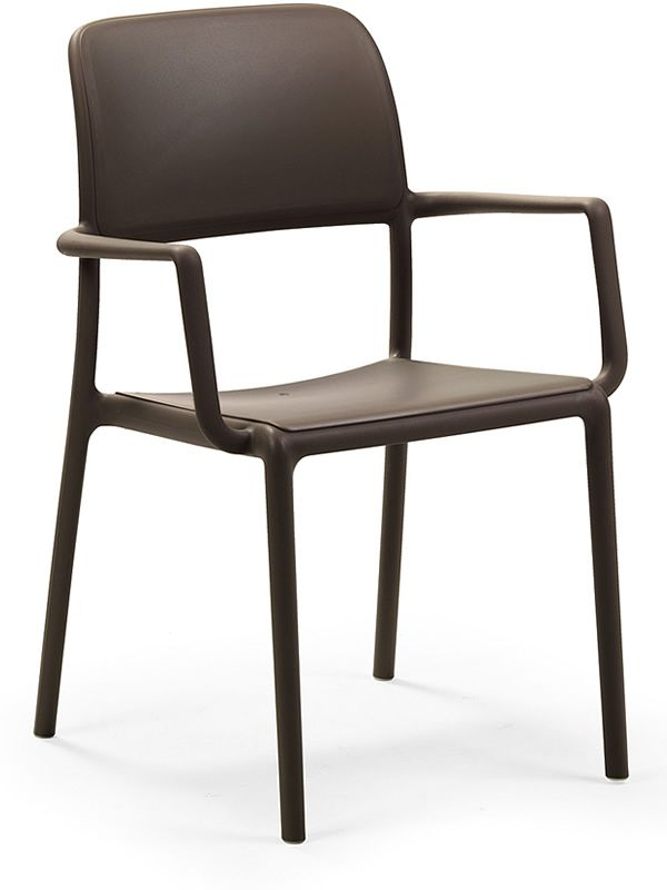 Armchair for garden in polypropylene in coffee colour