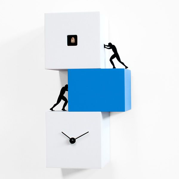 Cuckoo clock in wood, big and light blue version