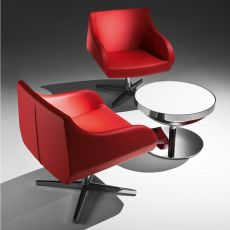 Crystal Too - Design armchair by Tonon, swivel, upholstered in imitation leather, several colours available