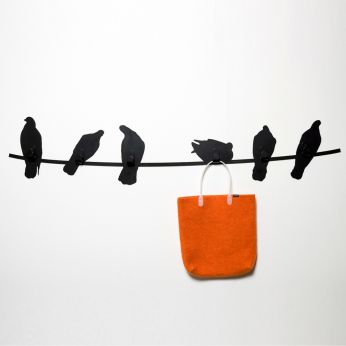Birds on Wire - Wall coat rack made of black varnished metal