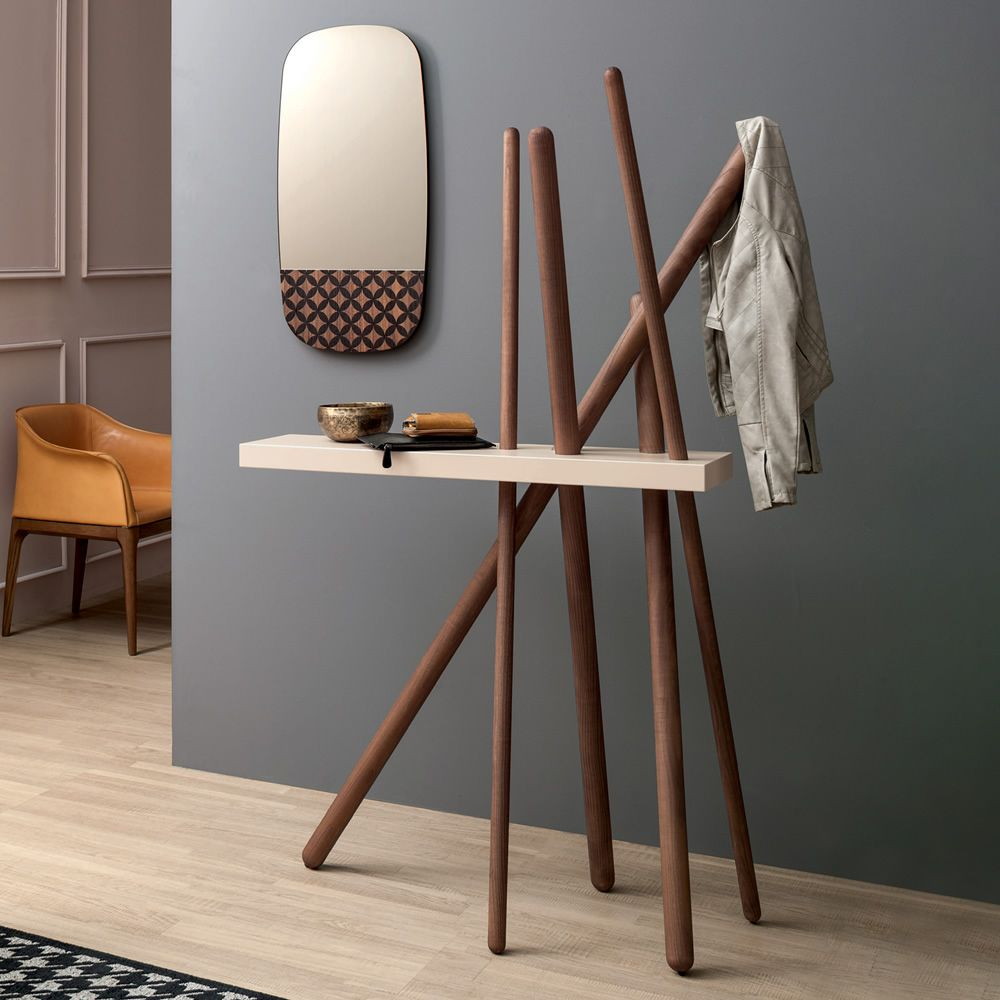 Design coat hanger made of wood, Canaletto walnut finish, with shelf in Agate pink lacquered MDF, matched with Marguerite 6465 mirror