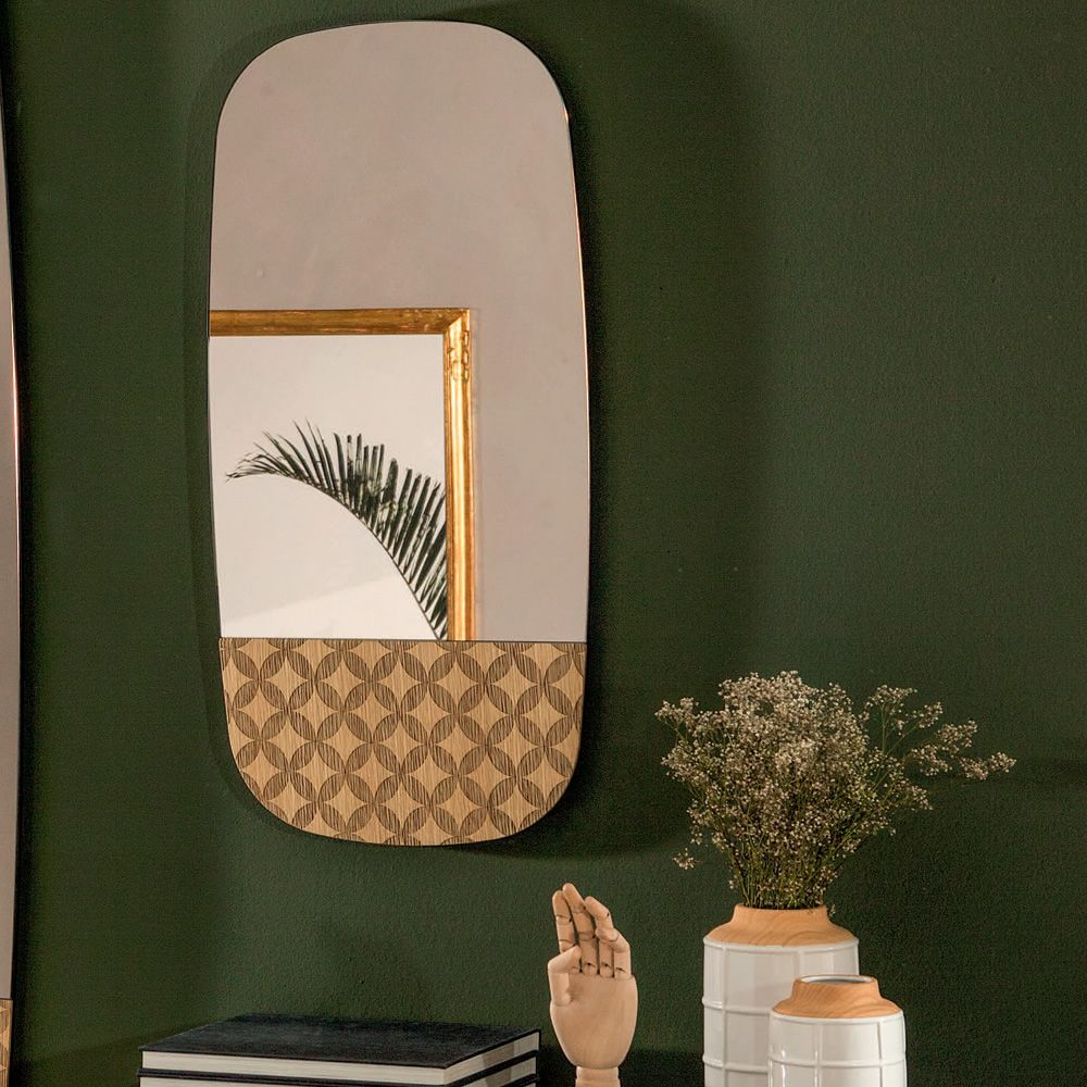 Wooden mirror, natural oak finish, with bronzed mirror