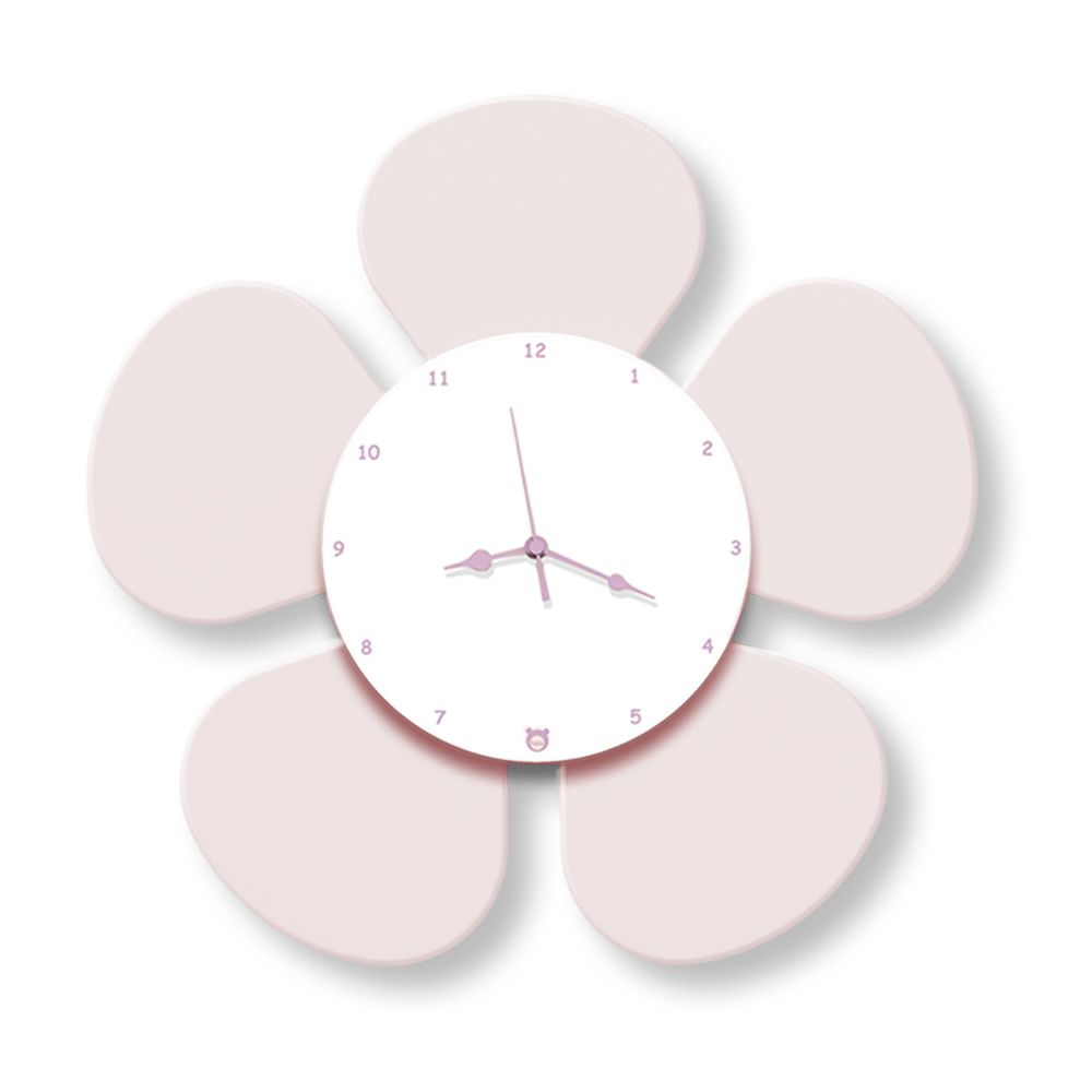 Wall clock in pink lacquered MDF wood
