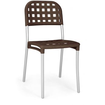 Alaska - Metal chair, resin backrest - seat in coffee brown