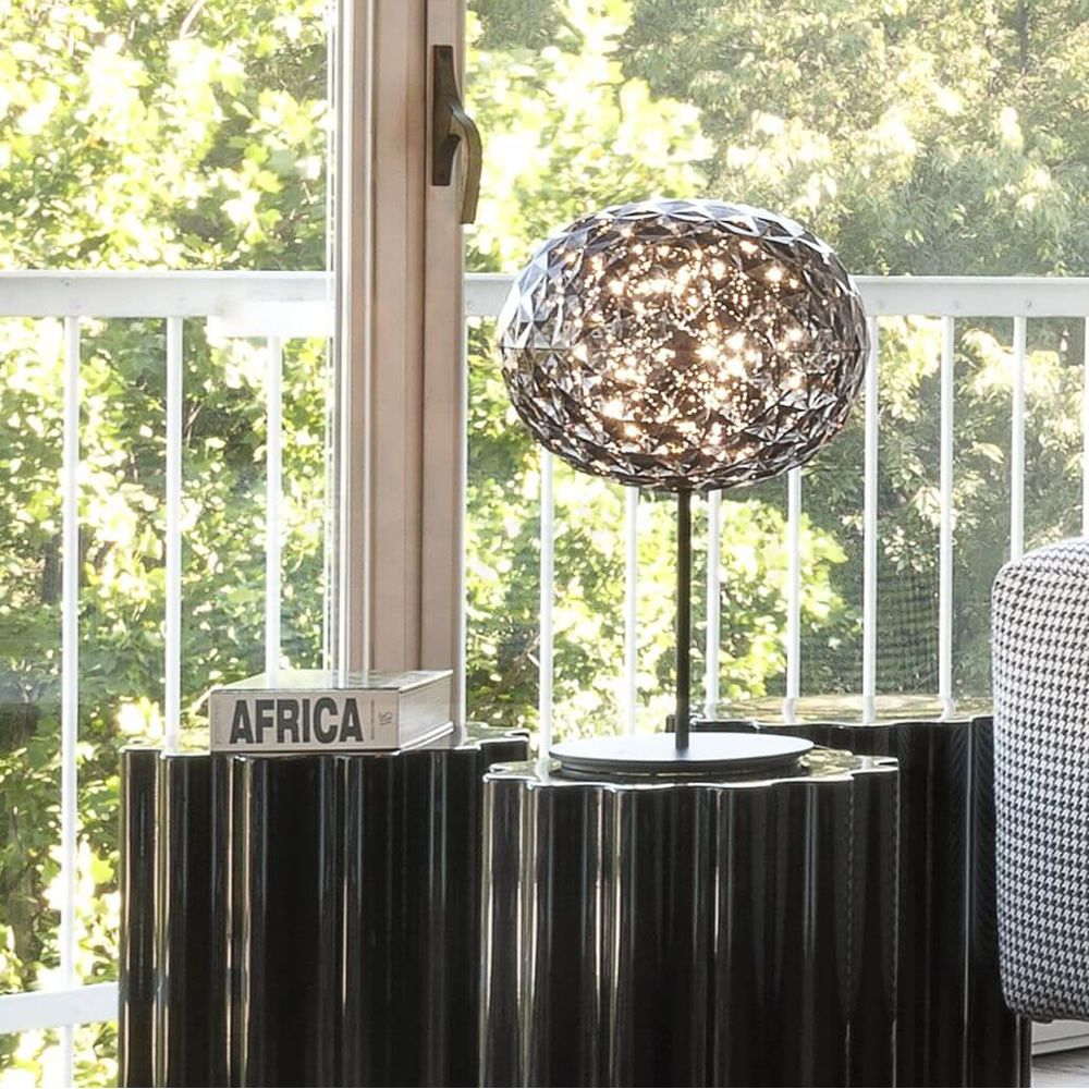 Kartell table lamp in technopolymer, in smoke grey colour