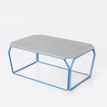 Tray 3 Marble - Coffee table in sky blue varnished metal, with Carrara marble top
