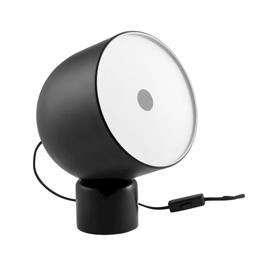 Table lamp in metal and marble, matt black colour