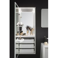 Campus M - Make up unit in wood, with internal LED light, switch, socket, 2 mirrors and 3 drawers, available in several colours