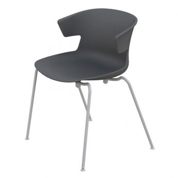 Cove Metal - Silla apilable de metal y polipropileno color gris antracita