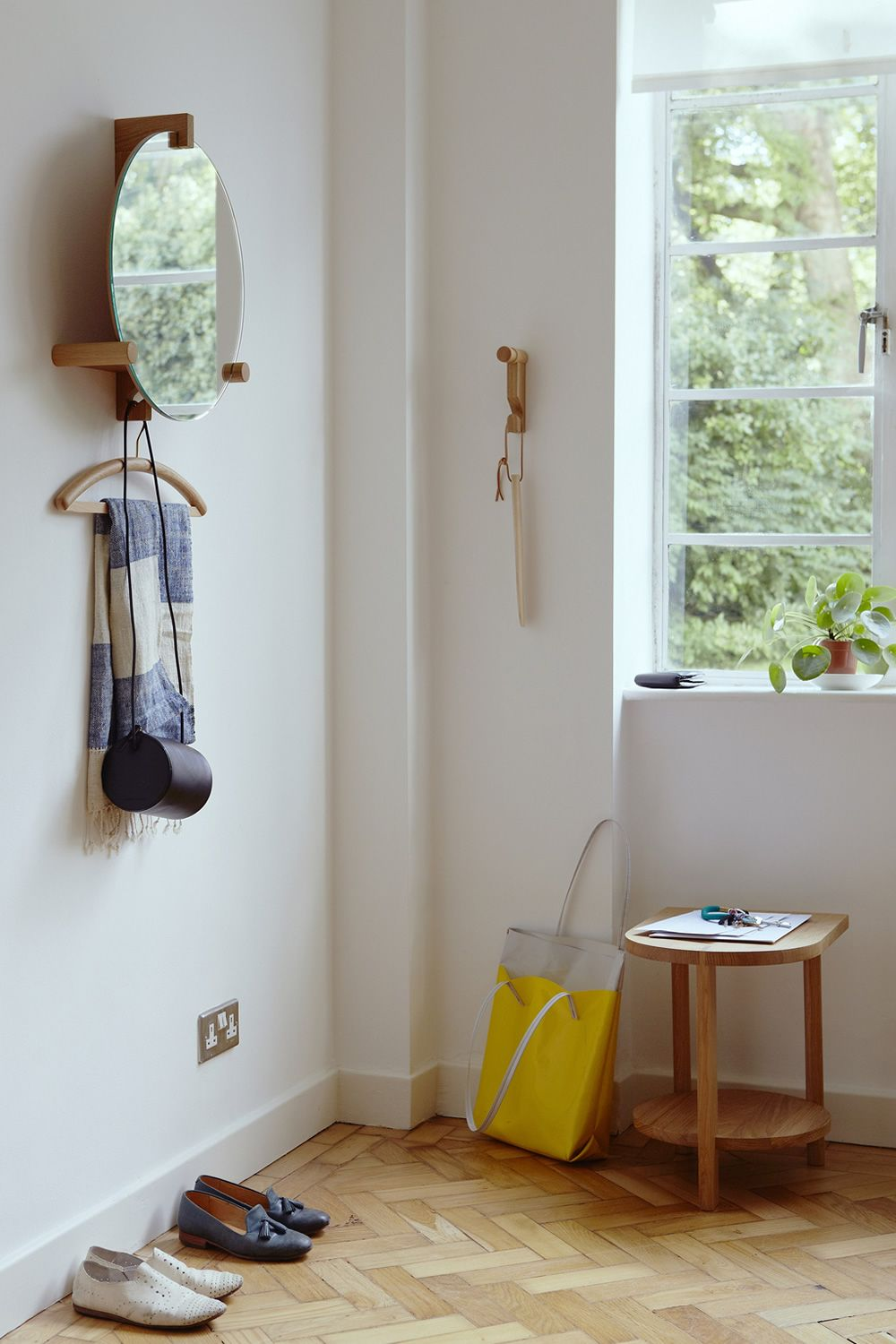Mirror with coat hook and shelf