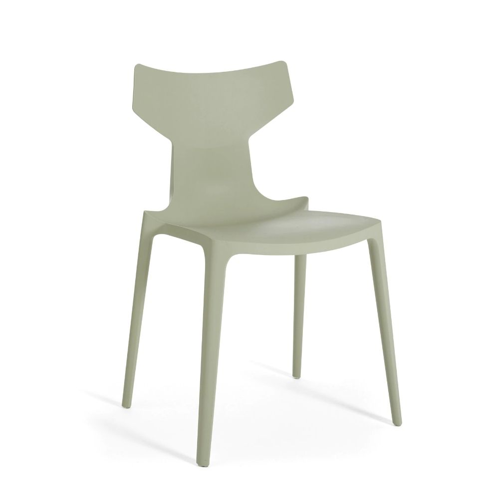 Green coloured recycled polypropylene chair