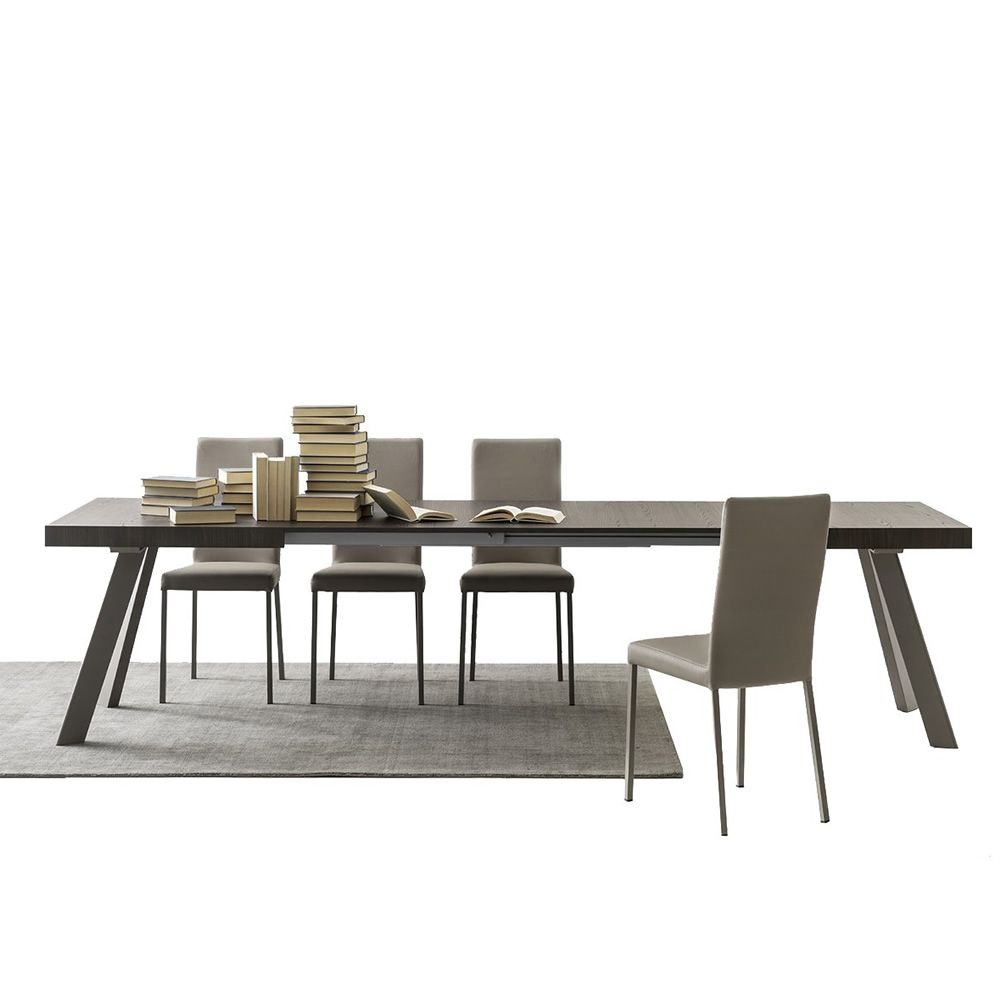 Extendible table in dove-grey varnished metal, with melamine top, thermal-treated finish