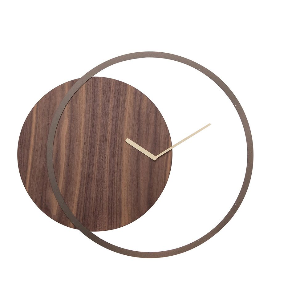 Wall clock in metal and Canaletto walnut wood