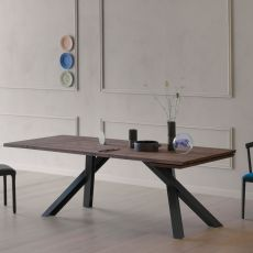 Gustave Plus R - Miniforms rectangular table in metal and wood, extendible, available in different dimensions
