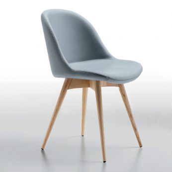 Sonny LG - Wooden chair with leather seat, sky colour