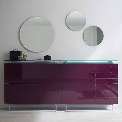 Composition with one mirror (diameter 70 cm) and two mirrors (diameter 40 cm)